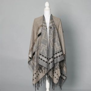 Grey & Taupe Poncho